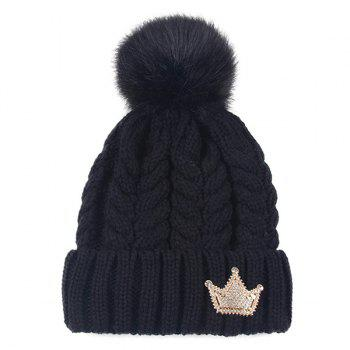 Rhinestone Crown Embellished Pom Hat