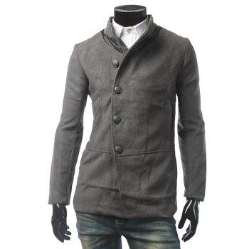 Pocket PU Leather Panel Single Breasted Woolen Coat