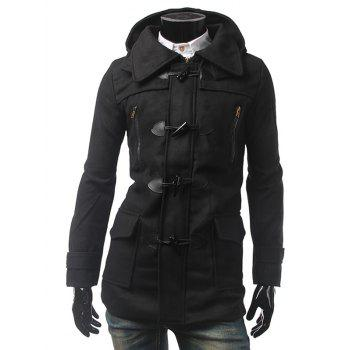 Button Tab Cuff Multi Pocket Hooded Toggle Coat