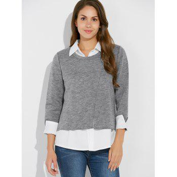 Plus Size Faux Twinset Shirt Collar Jersey Blouse - GRAY XL