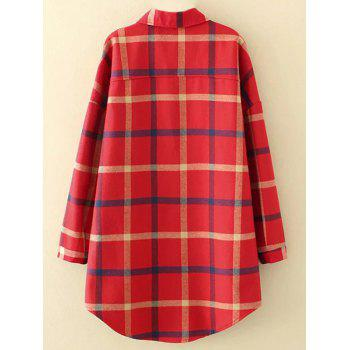 Plus Size Checkered Fleece Flannel Lined Shirt - RED 3XL
