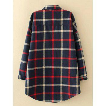Plus Size Checkered Fleece Flannel Lined Shirt - PURPLISH BLUE 2XL