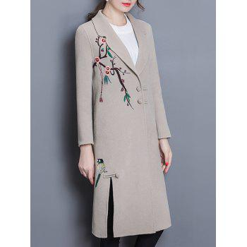 Wool Blend Longline Embroidered Coat - APRICOT M