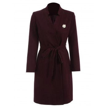 Notched Belt Long Coat