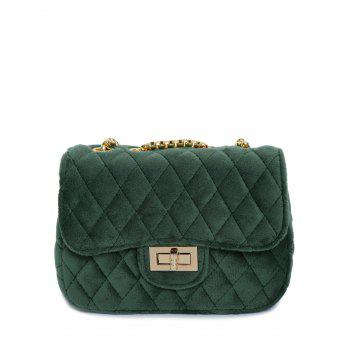 Velour Metallic Chains Quilted Bag