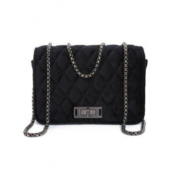 Metal Chains Velour Quilted Bag