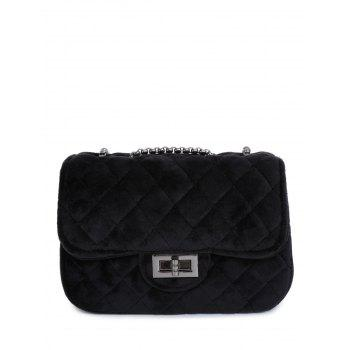 Chains Velour Rhombic Quilted Crossbody Bag
