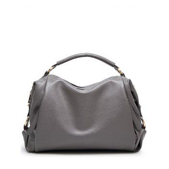 Metal Zips Textured PU Leather Tote