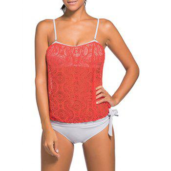 Cami Strap Lace Panel Padded Tankini