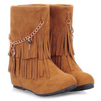 Pandent Fringe Mid-Calf Boots