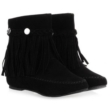Weaving Fringe Ankle Bootss