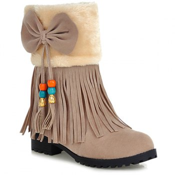 Faux Fur Bowknot Tassels Ankle Boots