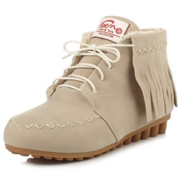 Stitching Fringe Lace Up Ankle Boots