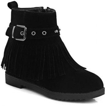 Buckle Rivet Fringe Ankle Boots