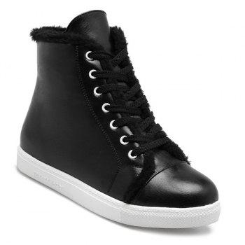 Lace Up Faux Fur Trim Sneaker Boots