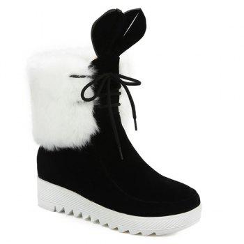 Lace Up Faux Fur Rabbit Ear Ankle Boots