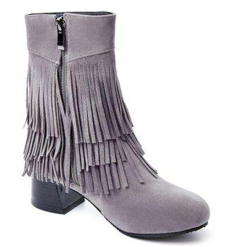 Fringe Chunky Heel Ankle Boots