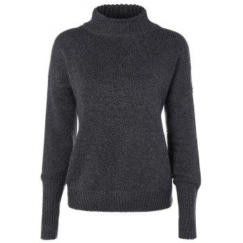Mock Neck Ribbed Hem Sweater