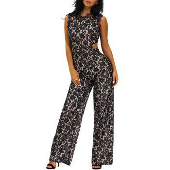 Sleeveless Hollow Out Lace Wide Leg Jumpsuit