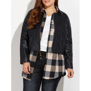 Zipped Plus Size Faux Leather Jacket