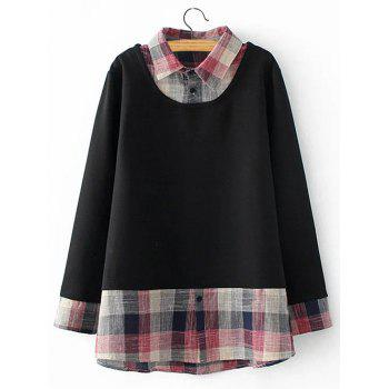 Plus Size Checked Faux Twinset Sweatshirt
