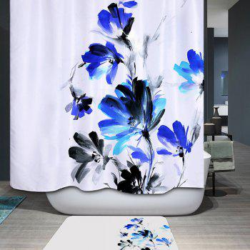 Waterproof Polyester Ink Painting Floral Bathroom Shower Curtain
