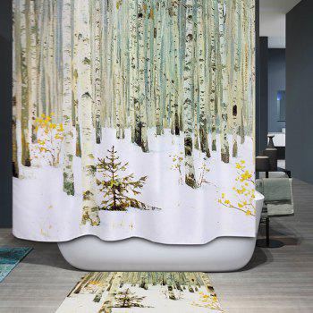 Winter Forest Printed Waterproof Polyester Bath Shower Curtain
