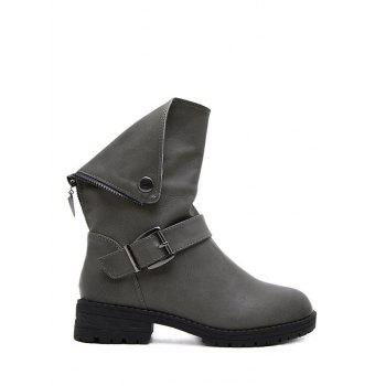 Buckle Strap Zipper Short Boots