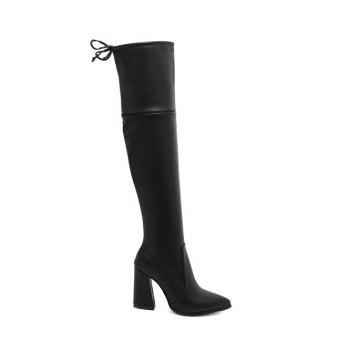 Zipper Pointed Toe Tie Up Thigh Boots