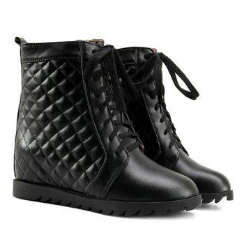 Tie Up Quilted Argyle Pattern Ankle Boots