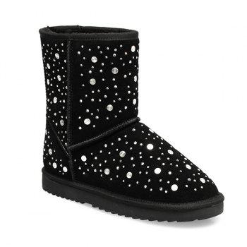 Suede Rhinestones Rivets Snow Boots