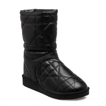 PU Leather Flat Heel Stitching Snow Boots