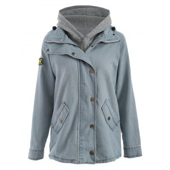 Hooded Waistcoat and Denim Jacket Twinset