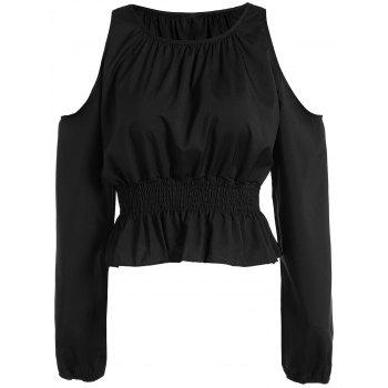 Cold Shoulder Elastic Waist Blouse