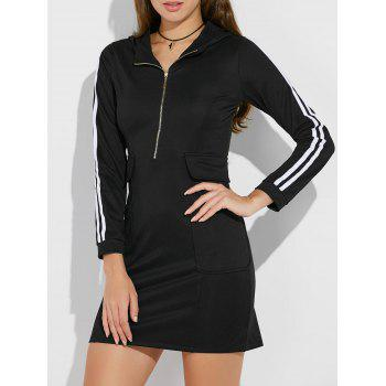 Hooded Half Zip Casual Dress with Pockets