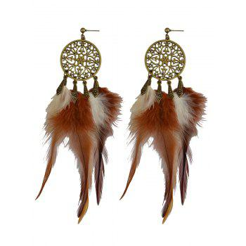 Vintage Hollow Out Feather Tassel Earrings