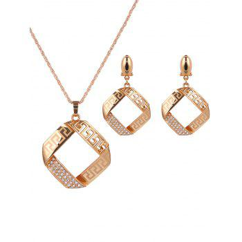 Rhinestone Hollow Out Square Jewelry Set