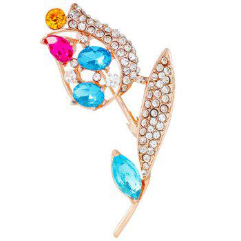 Rhinestone Leaf Rose Faux Gem Brooch