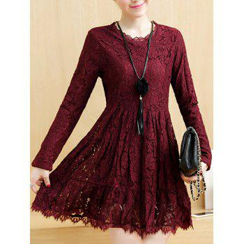 Long Sleeves Short A Line Lace Dress