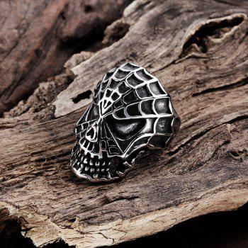 Engraved Skull Stainless Steel Ring - SILVER SILVER