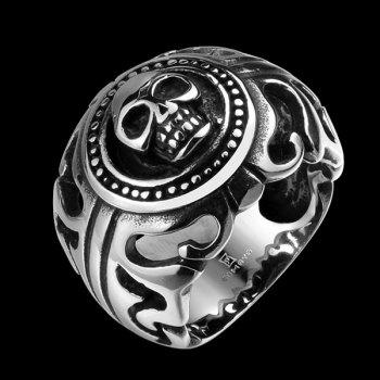 Stainless Steel Skull Biker Ring - SILVER 9