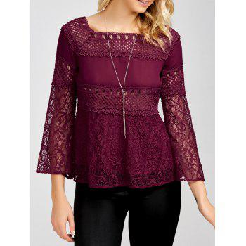 Openwork Square Collar Flare Sleeve Lace Blouse