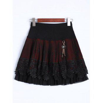 Rhinestone Key Chain Layered Mini Skirt