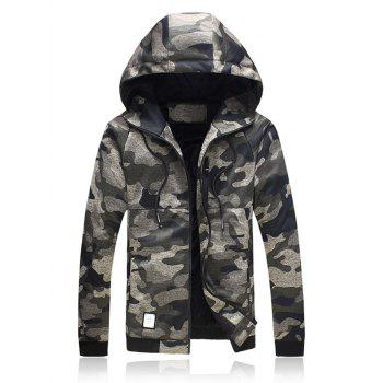 Hooded Plus Size Camouflage Zip Up Jacket