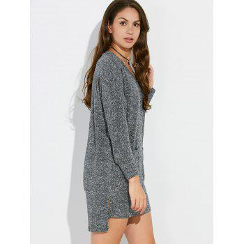 V Neck High Low Mini Tunic Jumper Dress - GRAY ONE SIZE