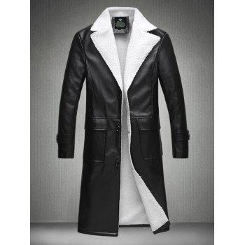 Single Breasted Plus Size Lengthen Flocking PU Leather Coat
