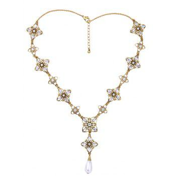 Rhinestone Artificial Pearl Flower Necklace