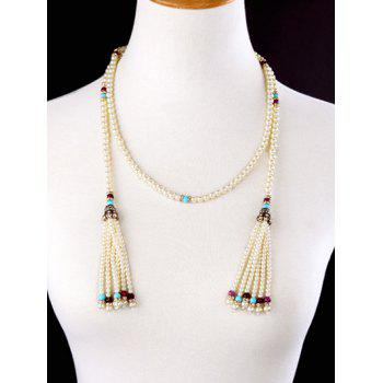 Rhinestone Artificial Pearl Beaded Necklace