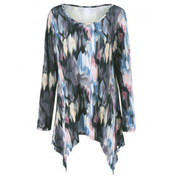 Buy Plus Size Tie-Dye Asymmetrical Tee COLORMIX