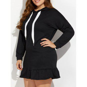 Hooded Flounce Plus Size Sweatshirt Dress